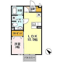 セジュールヤマザキ[B-202号室]の間取り