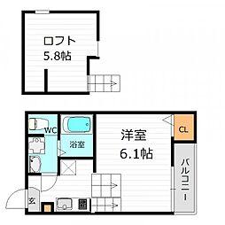 JR片町線(学研都市線) 鴫野駅 徒歩5分の賃貸アパート 1階1Kの間取り