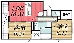 京成千原線 ちはら台駅 バス13分 かずさの杜入口下車 徒歩2分の賃貸アパート 3階2LDKの間取り