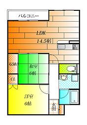 松村第一マンション[3階]の間取り