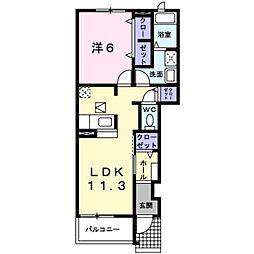 千葉県松戸市常盤平6丁目の賃貸アパートの間取り