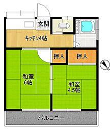 第二太田荘[201号室]の間取り