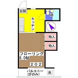 新井ハイツ[202号室]の間取り