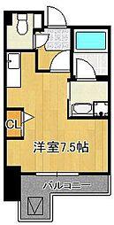 グランドメゾン小倉駅東 7階ワンルームの間取り