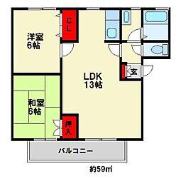 福岡県大野城市大字牛頸の賃貸アパートの間取り