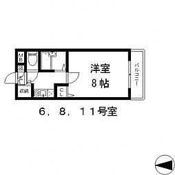 バーズ・ハウス[206号室号室]の間取り
