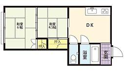 第一昭和荘B棟[2号室号室]の間取り