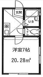 神奈川県横浜市神奈川区六角橋6の賃貸アパートの間取り