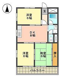 愛知県名古屋市名東区藤森西町の賃貸マンションの間取り