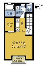 東京都大田区中馬込2丁目の賃貸アパートの間取り