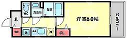 プレサンス天神橋六丁目ヴォワール 8階1Kの間取り