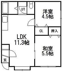 北海道札幌市手稲区稲穂一条1丁目の賃貸アパートの間取り