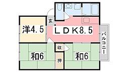 ハイツラポート B棟[202号室]の間取り