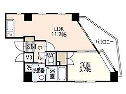 サントーマス横川 4階1LDKの間取り