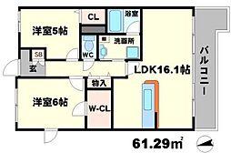 K FLAT 6階2LDKの間取り