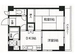 エクセレント横須賀[6F号室]の間取り