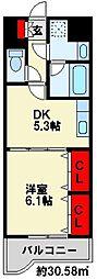 ニューシティアパートメンツ南小倉Ⅱ[6階]の間取り