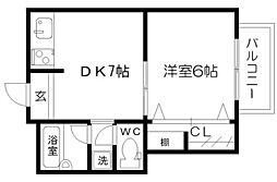 オークヒルズ北大阪[8階]の間取り