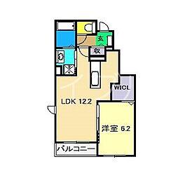 ル・クレール上街B 1階1LDKの間取り