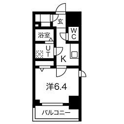 エスリード名古屋STATION WEST 11階1Kの間取り