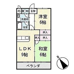 シャインハイム池端 2階[201号室]の間取り