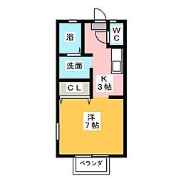プリシェール平田 B[1階]の間取り