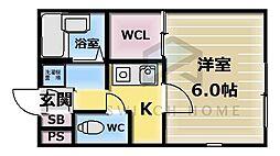 大阪府東大阪市友井3丁目の賃貸アパートの間取り