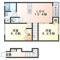 JR山陽本線 庭瀬駅 徒歩10分の賃貸アパート 2階2LDKの間取り
