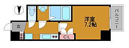 アキソレイユ本田 3階1Kの間取り
