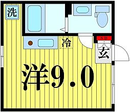 東京メトロ半蔵門線 押上駅 徒歩10分の賃貸マンション 3階ワンルームの間取り