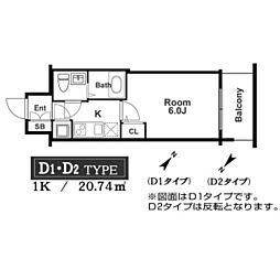 アドバンス西梅田ラシュレ 13階1Kの間取り