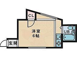 MAYUMIハイツ枚方15番館尊延寺 2階ワンルームの間取り