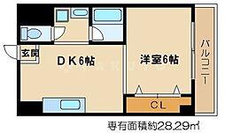 シャトー都島 7階1DKの間取り