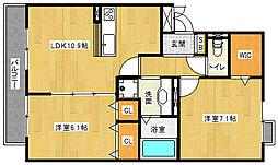滋賀県草津市西矢倉2丁目の賃貸アパートの間取り
