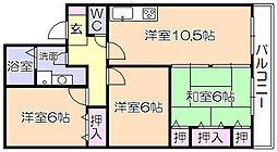 セジュ-ル宮ノ陣IB[106号室]の間取り