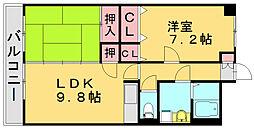 福岡県糟屋郡須惠町大字植木の賃貸マンションの間取り