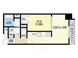 Osaka Metro谷町線 平野駅 徒歩6分の賃貸マンション 3階1LDKの間取り