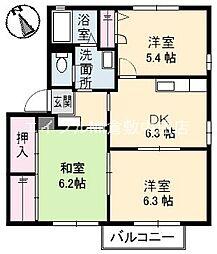 岡山県倉敷市茶屋町丁目なしの賃貸アパートの間取り