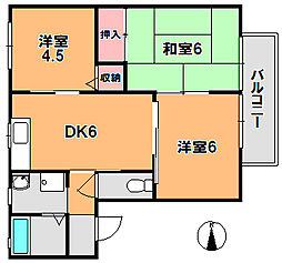 ディアコートA[1階]の間取り