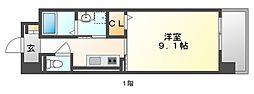 JR山陽本線 岡山駅 バス25分 新福下車 徒歩7分の賃貸マンション 4階1Kの間取り