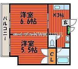 JR宇野線 大元駅 徒歩6分の賃貸マンション 5階2Kの間取り