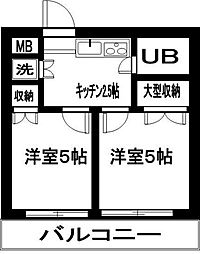 東京都品川区中延1丁目の賃貸マンションの間取り