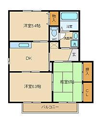 兵庫県姫路市四郷町東阿保2丁目の賃貸アパートの間取り