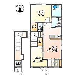 旭町 賃貸アパート新築工事[2階]の間取り