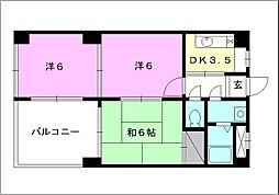 ラ・フルール・ドゥ・松山[303 号室号室]の間取り