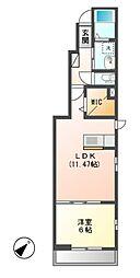 JR内房線 長浦駅 バス7分 蔵波台5丁目下車 徒歩14分の賃貸アパート 1階1LDKの間取り