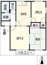 三重県桑名市高塚町1丁目の賃貸アパートの間取り
