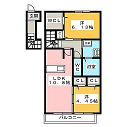 静岡県静岡市駿河区見瀬の賃貸アパートの間取り