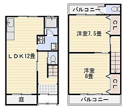 深井中町テラスハウス[1号室]の間取り
