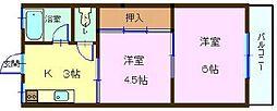 コーポ柿田[2-E号室]の間取り